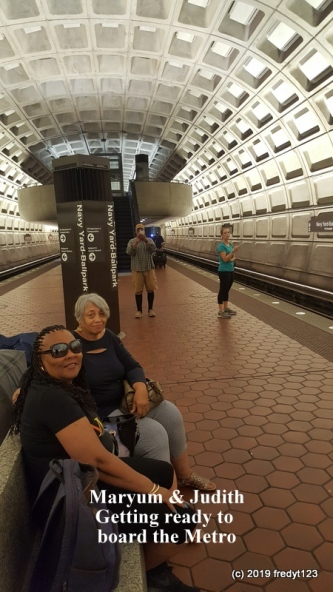 Judith and Maryum waiting to board Metro