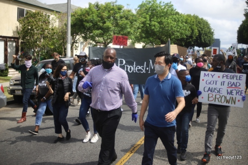David Ryu, Councilman of CD4 joined Pastor Johnson to lead march
